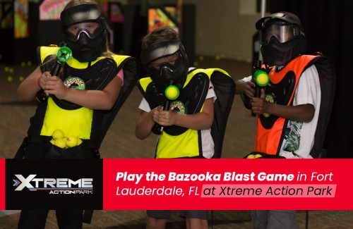 Kid approved and innovative Glow-in-the-Dark Arena for Bazooka Blast Team Challenges – an award-winning combat game that fires 2″ foam balls from a real paintball cannon.